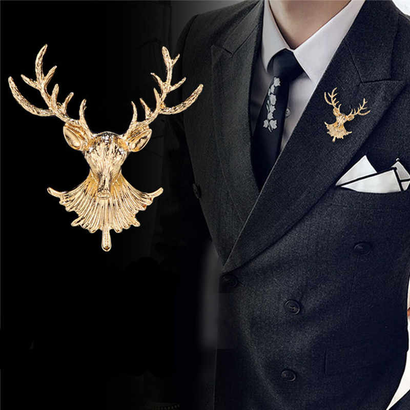 New Vintage Unisex Animal Deer Brooches Popular Cute Elk Antlers Head buckle Brooches Pin Clothes Accessories Christmas Gifts