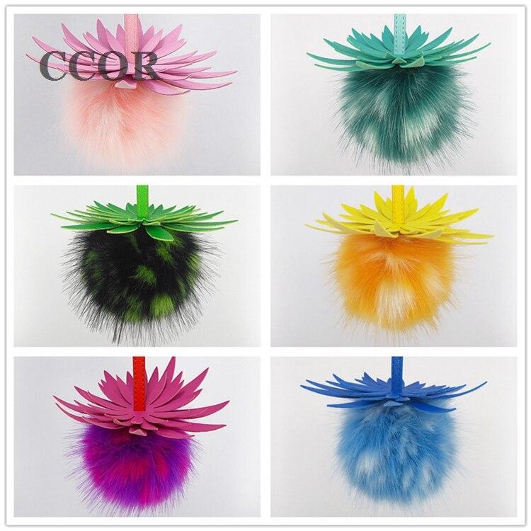 CCOR NEW 13CM Imitation Fox Fur fluffy keychain Pineapple keychain car font b bag b font