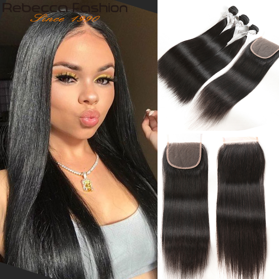 Rebecca Straight Hair Bundles With Closure 3 Bundles With Lace Closure Remy Hair Extensions 8 To 28 30 Inch Bundles With Closure