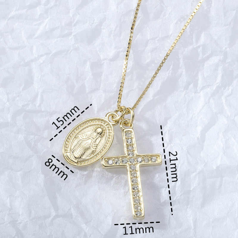 Authentic 925 Sterling Silver Cross Portrait Silver Coin Pendant Necklaces For Women Heart Gold Jewelry Chain Necklace Elegant