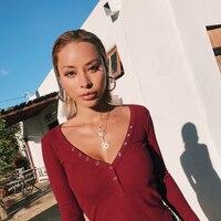 Women New 2018 deep v neck sexy long sleeve tee basic tops shirts white burgundy black