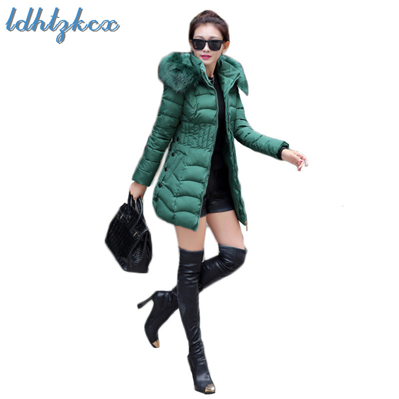 Jackets & Coats Winter Coat Women Green L-4xl Plus Size Big Fur Hooded Parkas 2019 New Spring Korean Office Elegant Slim Long Thick Jacket Ld912 Invigorating Blood Circulation And Stopping Pains