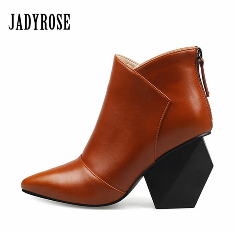 цены Jady Rose Brown Back Zipper Women Ankle Boots Genuine Leather Strange Heel Botas Pointed Toe Botas Mujer High Heels Women Pumps