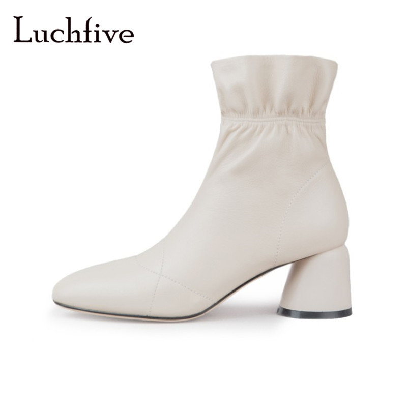 Ruffle genuine leather women booties fashion round toe slip on female shoes sexy round high heels black beige ankle boots women black round toe side zippers heavy bottomed increased inner 12 cm slope heels naked boots discount women fashion wedges booties