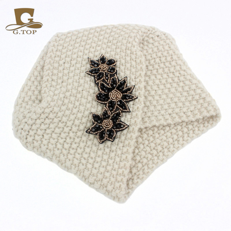 New Ladies Winter Warm Turban Soft Knit Headband Beanie Crochet Headwrap Women Hat Cap With Beaded Jewelry