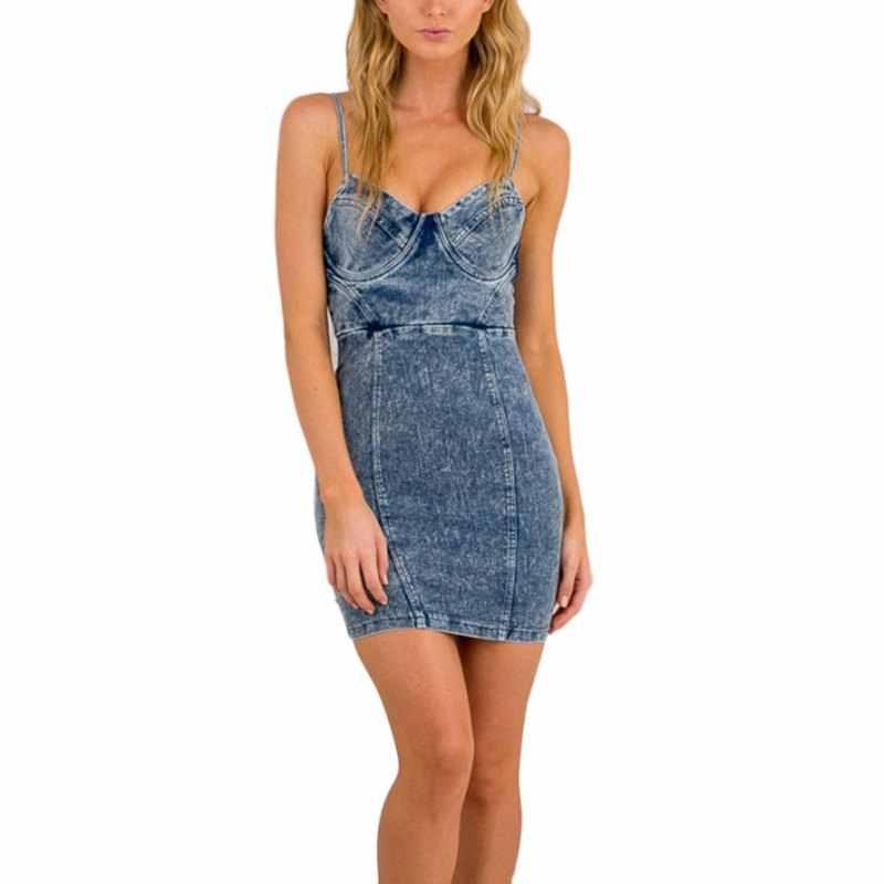Сексуальное платье из джинсовой ткани с открытой спиной, женское облегающее летнее платье, пляжные вечерние короткие платья, повседневные платья Bue Vestidos Feminino