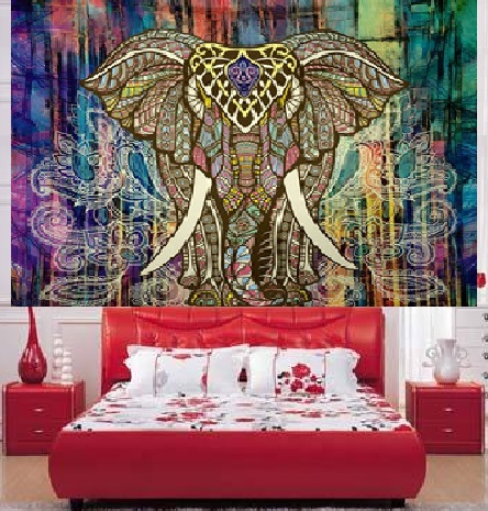 CAMMITEVER Hippie Indian Tapestry Elephant Mandala Throw Wall Hanging Gypsy Bedspread Living Room Sheet Coverlet Picnic Blanket in Tapestry from Home Garden