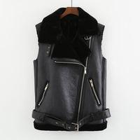Plus Velvet Warm Pu Leather Vest Women Lambswool Waistcoat Sleeveless Vests For Ladies Streetwear High Quality Vests Coats Z75