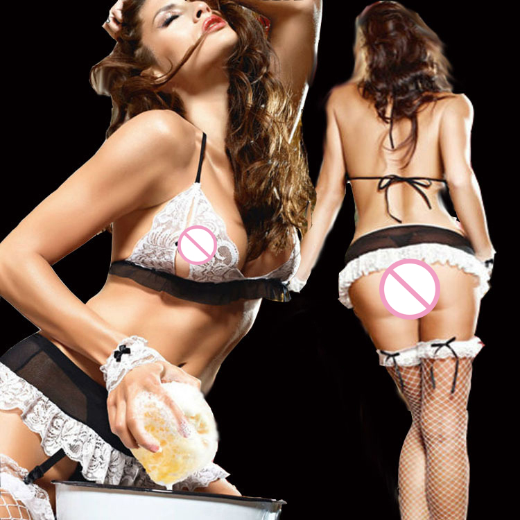 SY069 sexy lingerie hot france style maid uniform Black and white chest bra Small flouncing skirt