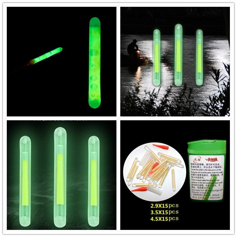 15pcs Fishing Night Fluorescent Light Float Glow Stick Light Sticks 4.5*37mm