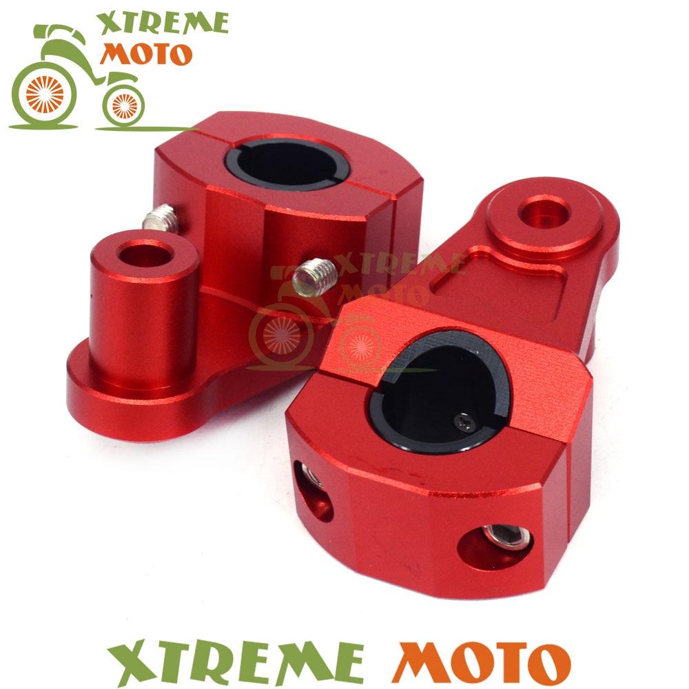 Red 7/8 To 1 1/8 22mm 28mm Handle Bar Mount Fat Bar Adapter Handlebar Mounts Riser Clamp For Honda CR CRF Dirt Bike Motorcycle