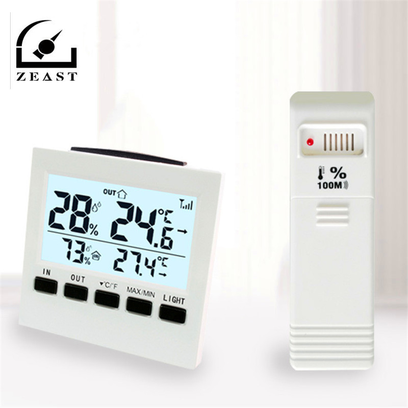 Indoor Outdoor Wireless Wetter Station LCD <font><b>Digital</b></font> <font><b>Thermometer</b></font> <font><b>Hygrometer</b></font> Temperatur Feuchtigkeit Meter Temperaturregler image