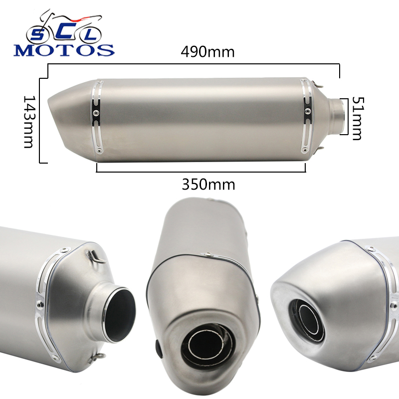 Sclmotos 51mm Modified Motorcycle Exhaust Pipe Muffler Racing With DB Killer YZF R1 R6 ZX6R ZX10R GSXR MT07 MT09 MT03 S1000RR dirt bike racing motorcycle exhaust pipe middle muffler exhaust pipe for yamaha yzf r1 yzf r1 2009 2010 2011 2012 2013 2014