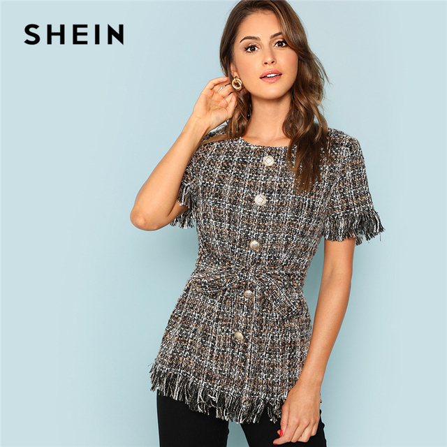 2252ef3bb US $35.0 |SHEIN Multicolor Elegant Streetwear Button Front Hem Tweed Tassel  Belted Blouse 2018 Summer Casual Women Tops And Blouses-in Blouses & ...