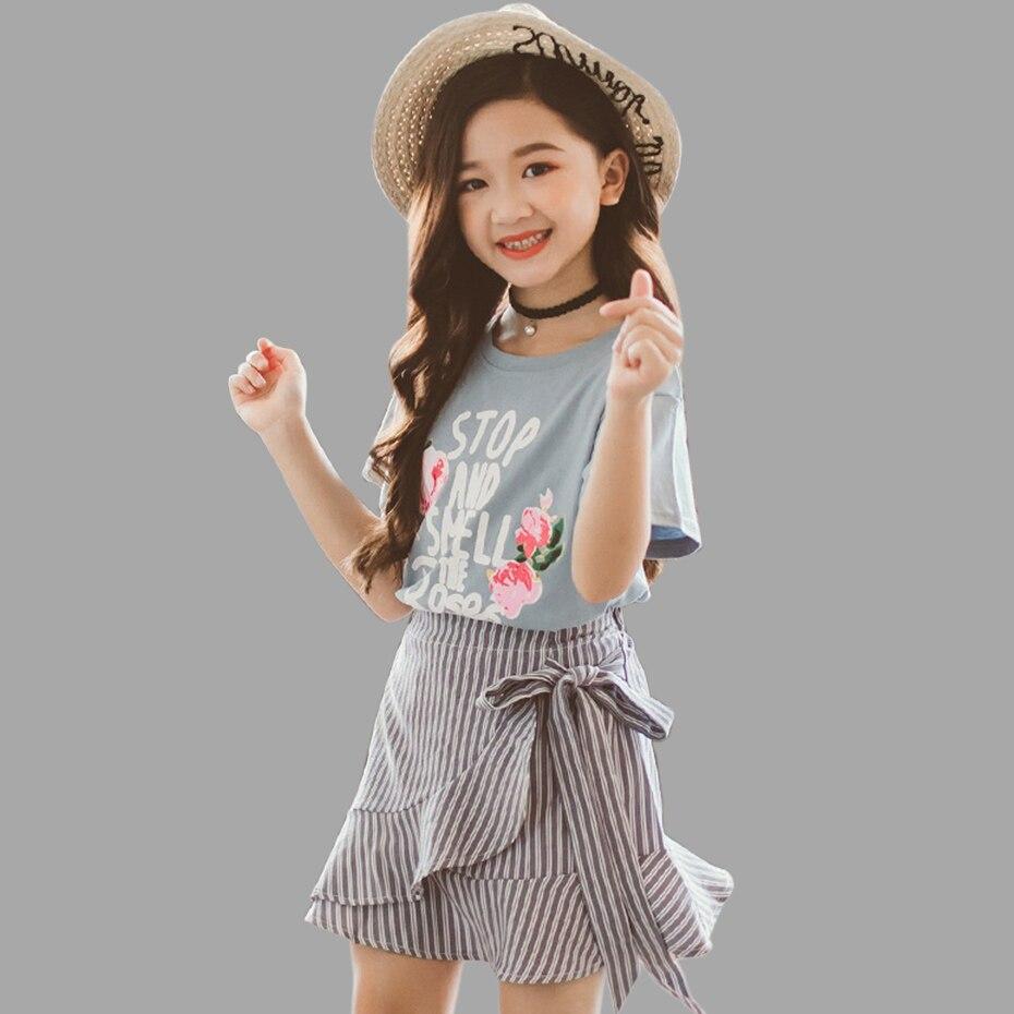 Sommer Mädchen Kleidung Set Floral Shirt + Gestreiften Bogen Rock 2 Pcs Beiläufigen Satz Für Mädchen Teenager Winter Kleidung Für Mädchen 6 8 12 Jahre SorgfäLtig AusgewäHlte Materialien