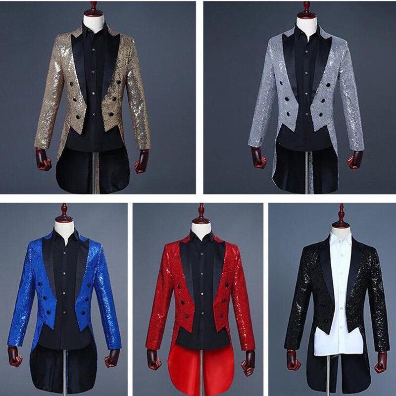 2018 nouveauté noir hommes Tailcoat veste Sequin rouge hommes costume magicien scène Blazer smoking bal Bar chanteur Sequin Ternos