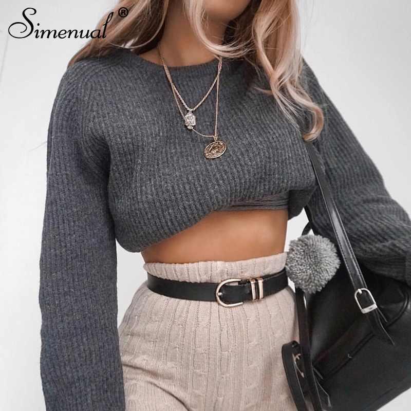 3bd42ba17 Simenual Casual crop sweater 2018 autumn winter slim grey long sleeve jumper  knitwear sexy fashion women