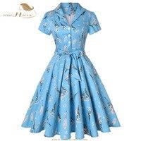 SISHION Dandelions Print Vintage Dress 2018 Autumn Sky Blue Plus Size Floral Cotton Tunic Plus Size Women Ladies Dresses SD0002