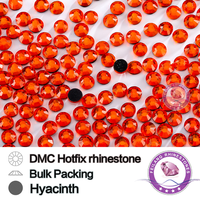 Hyacinth Color Bulking Packing Clear Glass Crystal Hot fix Rhinestone For Garments Bags And Shoes Wedding Decoration
