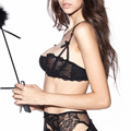 New 2016 Fashion sexy lace transparent ultra-thin 1/2 cup bra set ABCD CUP Hot Bow Young Girls preferred personal bra set