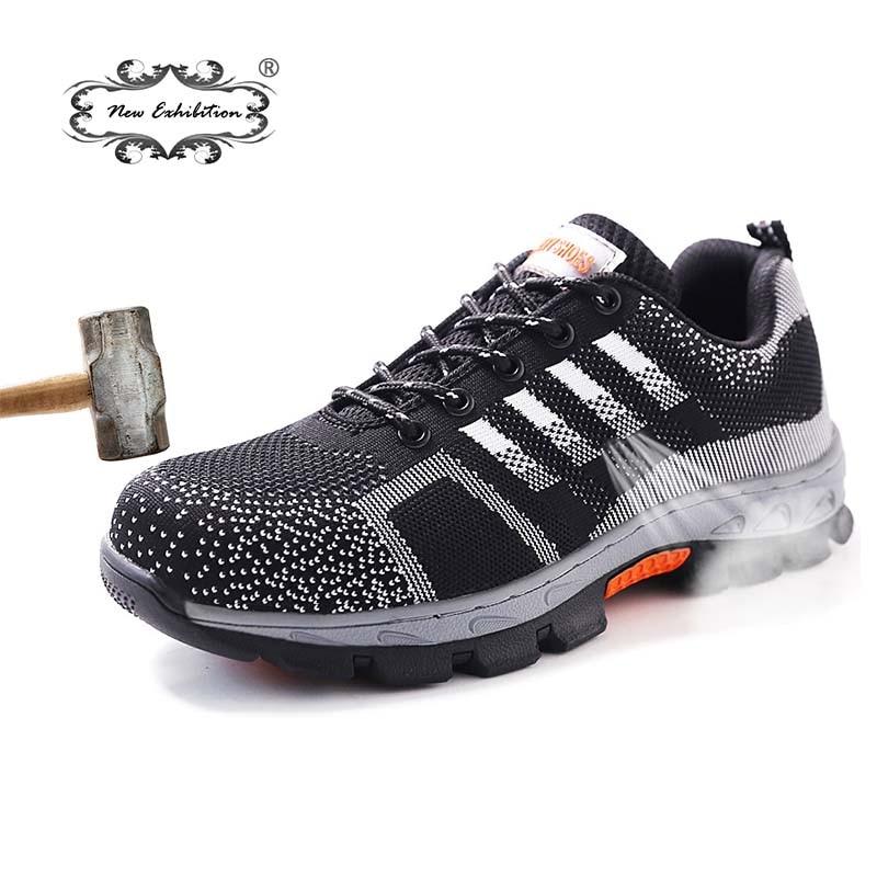 Nouvelle exposition hommes acier orteil sécurité travail chaussures respirant hommes chaussure baskets Anti-piercing anti-dérapant portable chaussures de protection