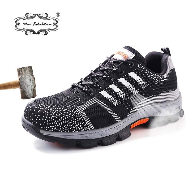 Nova exposição Dos Homens homens tênis sapato Respirável Sapatos de Trabalho De Segurança Biqueira de Aço Anti-perfuração anti-slip wearable Proteção calçado