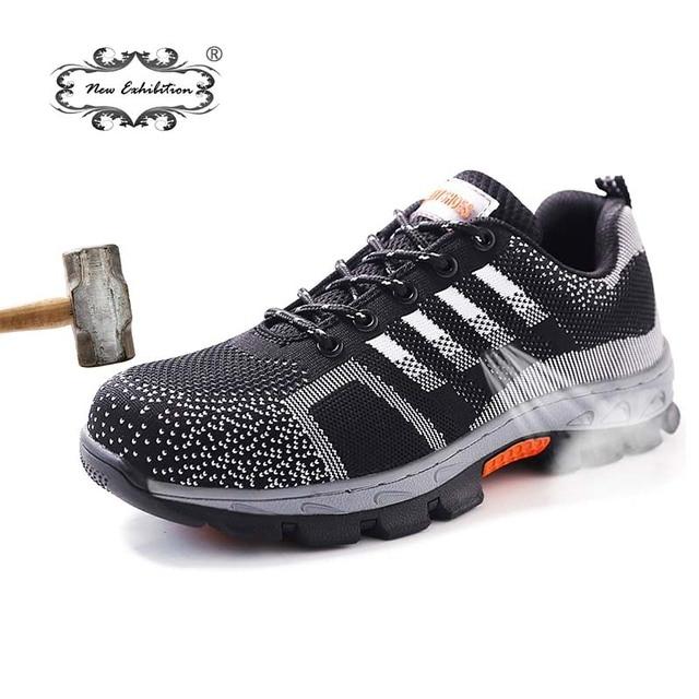 Yeni sergi Erkekler Çelik Ayak Emniyet iş ayakkabısı Nefes erkek ayakkabısı ayakkabı Anti-piercing kaymaz giyilebilir Koruyucu Ayakkabı