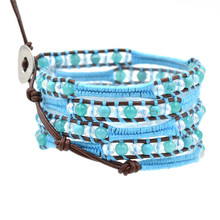 New Fashion Charm Bohemia Multilayer Wrap Bracelet Blue Crystal Beaded For Women Jewelry Gifts Wholesale