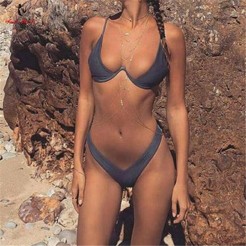 Ariel Sarah Brand Bikini 2017 Push Up Bikini Set Bathing Suit Swimsuit Underwire Swimwear Women Halter Monokini Biquinis ariel sarah solid bathing suit women swimsuit deep v push up bikini set sexy bandage brazilian bikini swimwear monokini q339