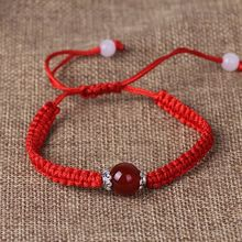 Buddhism Six Words Tibetan Agates Beads Bracelet Lucky Red String Rope Jewelry