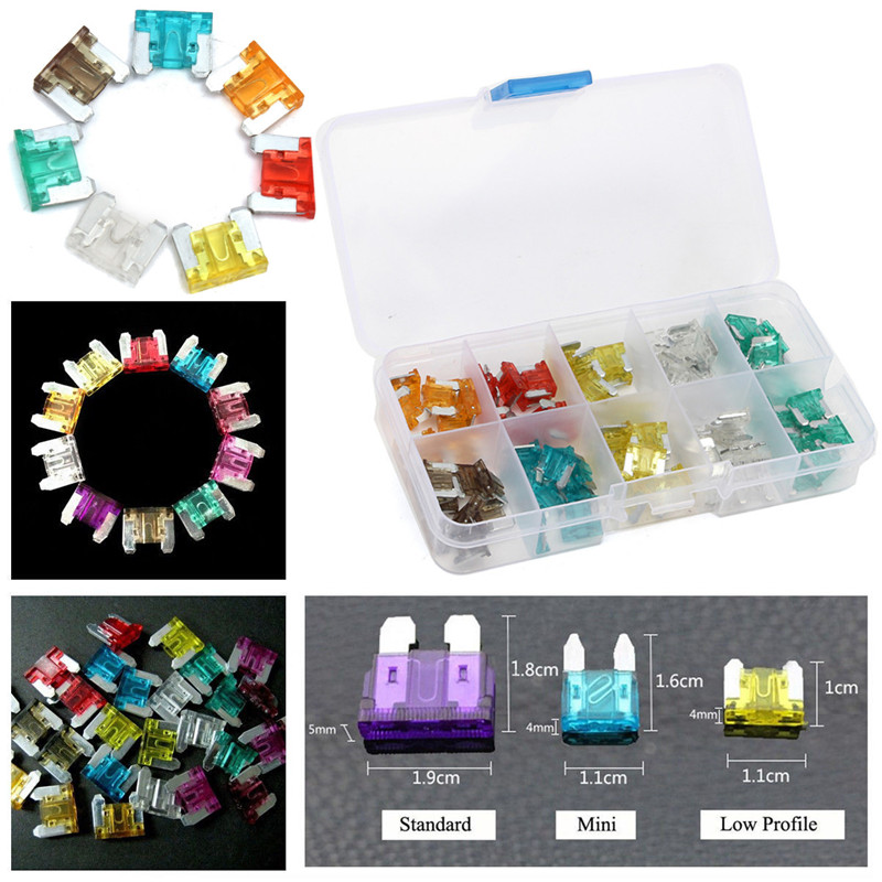 100 Pcs Colorful Autos DIY Medium Low Profile Fuse Box Kit 5 7.5 10 15 20 25 30A Assorted Autos DIY Low Profile Fuse Box Kit