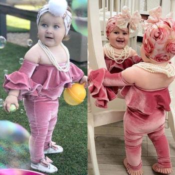 Nouveau-né Enfants Bébé Fille Velours à Volants Sunsuit Costume Vêtements Bambin Filles été Hors épaule Hauts Barboteuse Pantalon 3 Pièces Vêtements