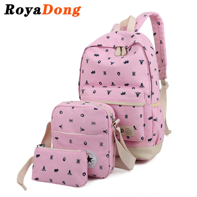 RoyaDong 2017 Printing Backpacks Set Women Canvas Animal Prints Candy Color Cute  Children School Bags For Teenage Girls
