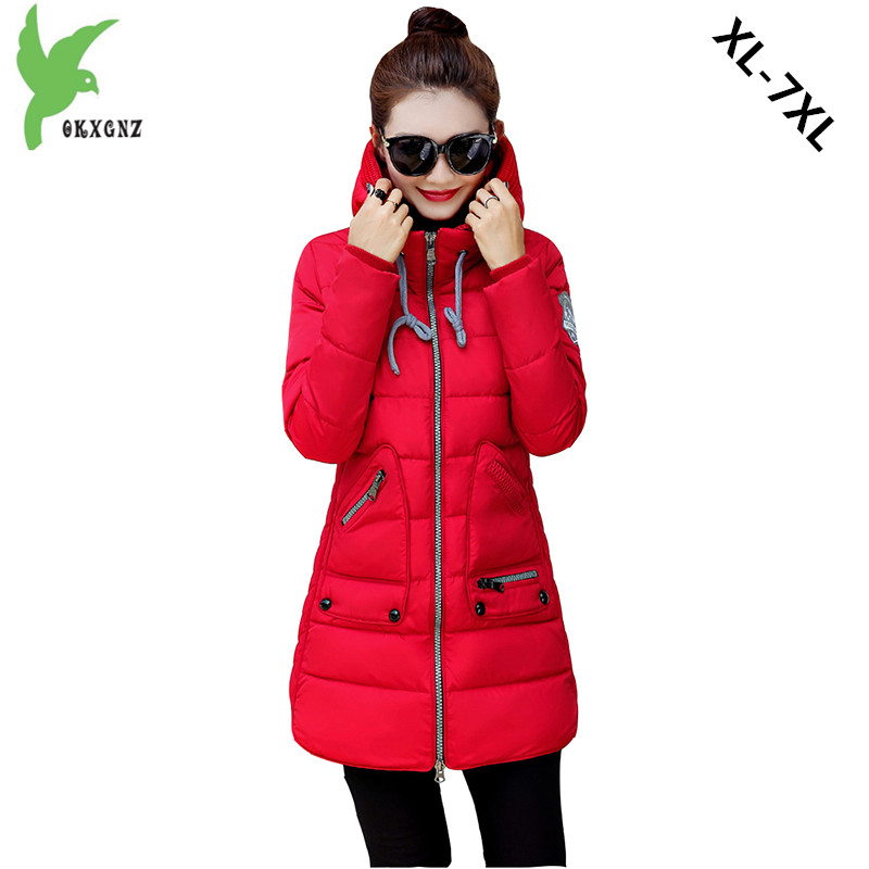 Plus Size Women Down Cotton Jacket 2017 Winter Fashion Solid Color Hooded Thick Warm Fat MM Casual Coat 100KG Can Wear OKXGNZ900 plus size winter women down cotton jackets new fashion solid color hooded thick warm casual costume fat mm long coat okxgnz a854