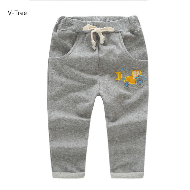 Children Elastic Waist Trousers Fashion Soft Cotton Trousers For Baby Kids Autumn Knitted Solid Pans For Boys Girls