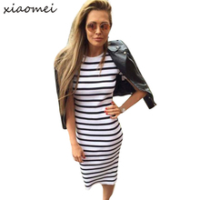 Autumn Winter Dress Women 2016 Sheath Dresses Navy Stripes Short Sleeve Casual  Large Plus Size Women Clothing Bodycon Dresses
