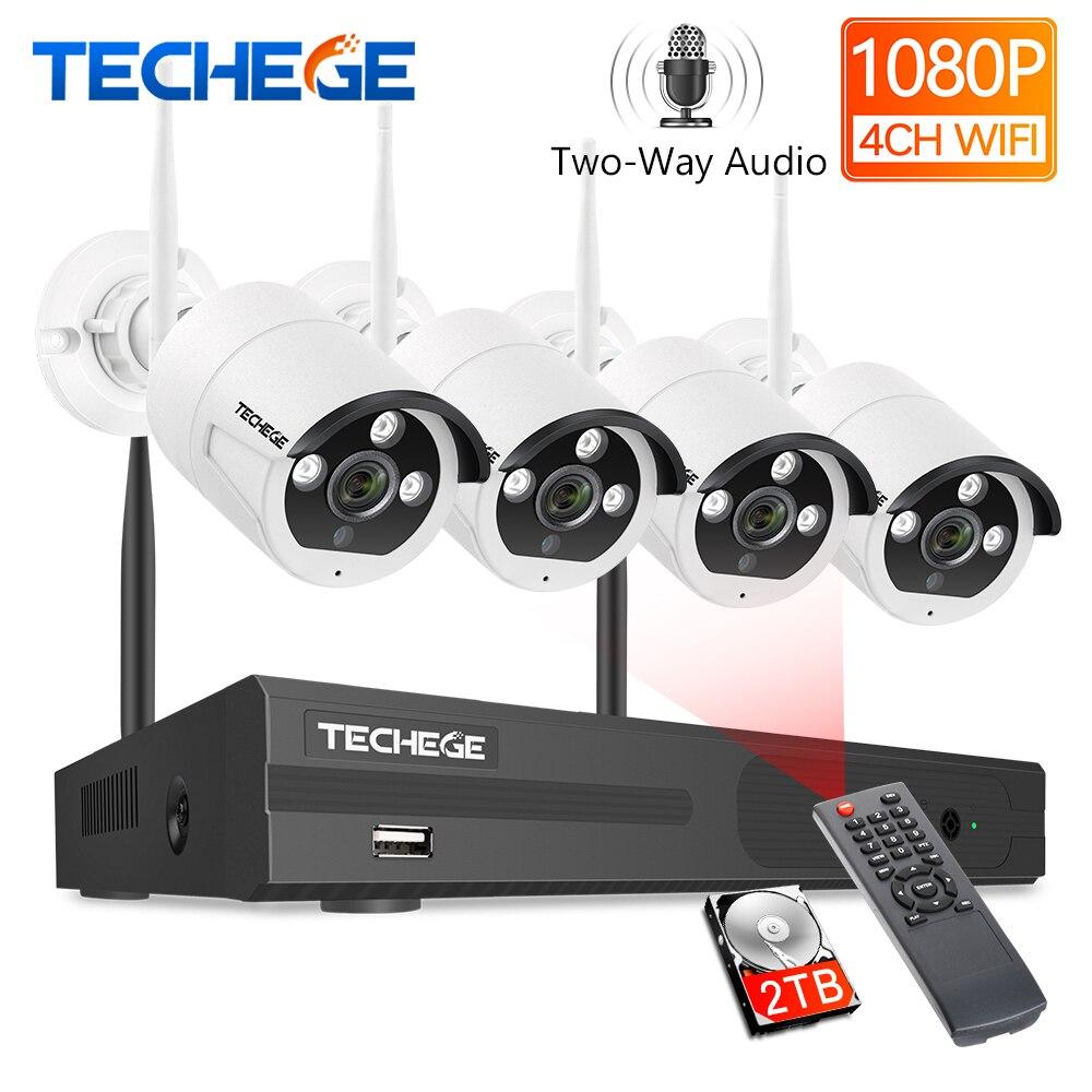 Techege 2MP 4CH 1080P Sistema de CFTV Sem Fio de Duas Vias de Áudio Câmera De Metal À Prova D' Água Ao Ar Livre Kit Sistema de Vigilância De Vídeo WI-FI