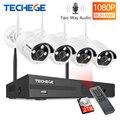 Techege 4CH 1080P Senza Fili del CCTV Sistema A Due Vie Audio 2MP Esterna Impermeabile del Metallo Della Macchina Fotografica WIFI Sistema di Video Sorveglianza Kit