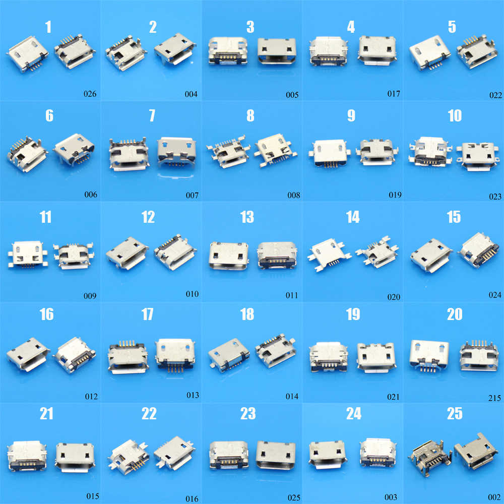 25Models 25-100pcs Micro USB 5Pin jack tail sockect, Micro Usb Connector port sockect for Samsung Lenovo Huawei ZTE HTC ect