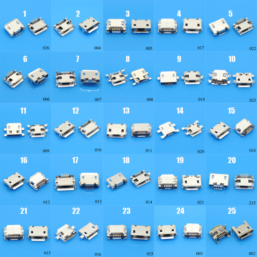25Models 25-100pcs 5Pin Micro USB Jack Sockect Connector Port 5P Female For Samsung Lenovo Huawei Lenovo Meizu Xiaomi Oppo Vivo