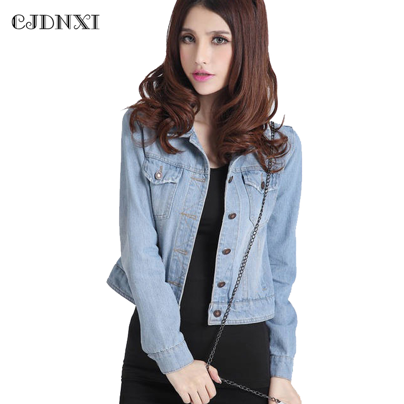 CJDNXI 2018 Spring Women Denim Jackets Vintage Cropped Short Denim Coat Female Jean Jacket ...