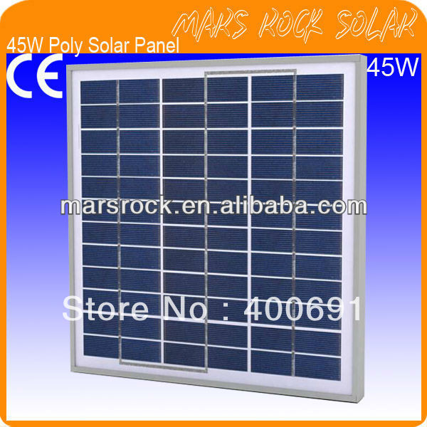 ФОТО 45W 18V Poly Solar Panel Module with 36 A Grade Poly Cells, Nice Appearance, IP65 Waterproof, 80% Power Warranty within 25 years