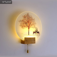 Artpad Modern Romantic Plain Dyed Sconces Indoor Wall Led Acrylic Wall Mounted Wall Lamp Living Room Kitchen Bedside Warm Light