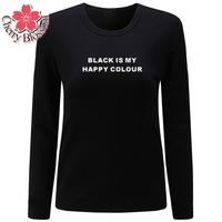 Cherry Blossom Women T Shirts BLACK IS MY HAPPY COLOUR Letter Printed Tees Tops Ladies Clothing