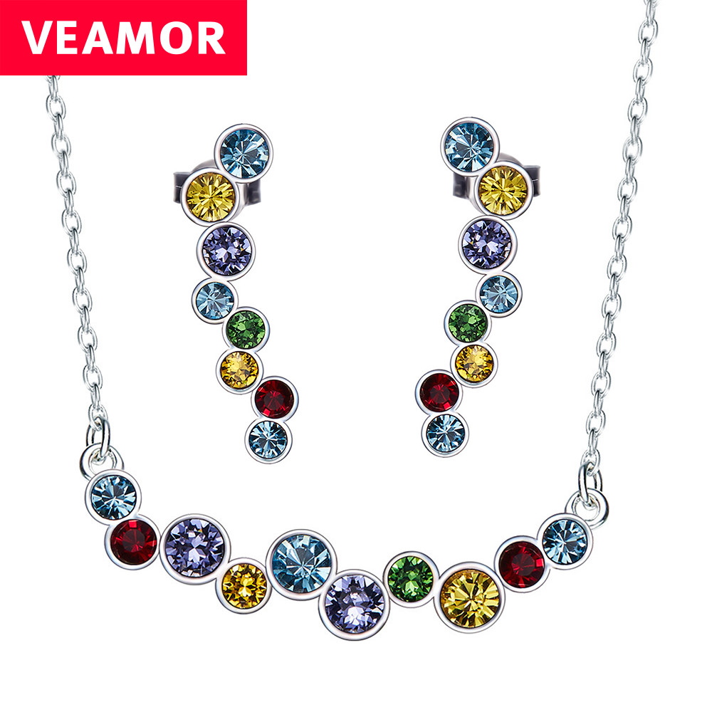 Veamor real 925 sterling silver jewelry set multicolor necklace and earrings colorful crystals from australia women