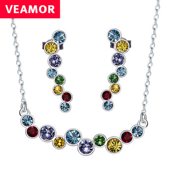 Veamor real 925 sterling silver jewelry set multicolor necklace and earrings colorful crystals from australia women.jpg 350x350
