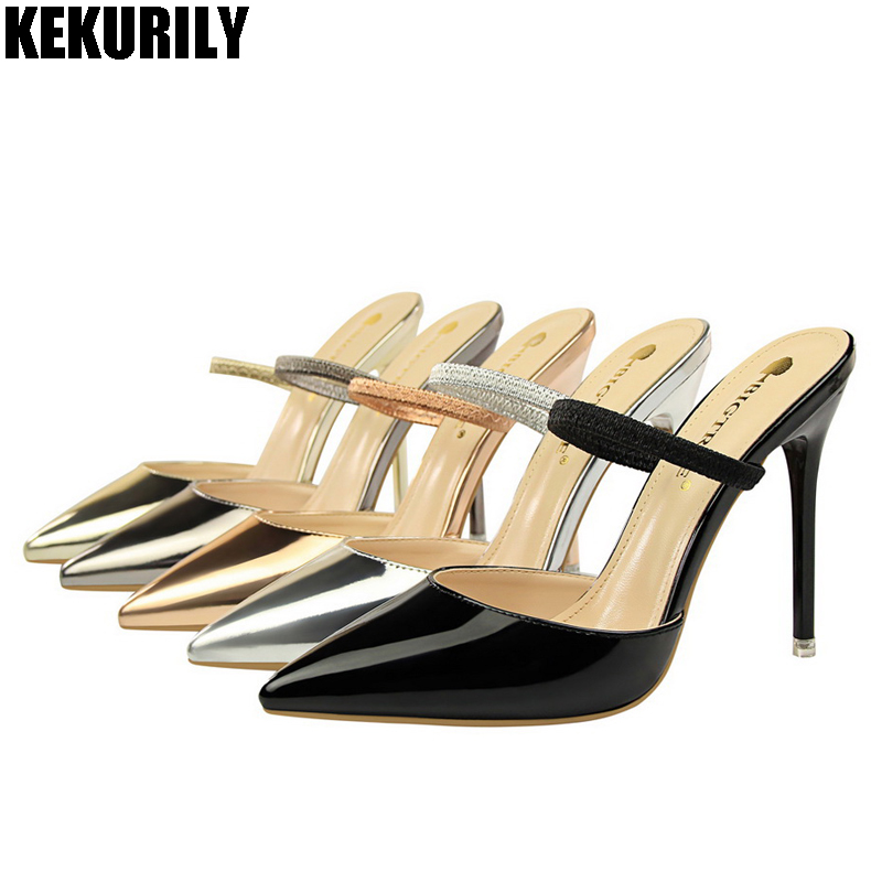 Летняя женская обувь из лакированной кожи с острым носком Тапочки женские без шнуровки Шлёпанцы Обувь на высоком каблуке сандалии-шлепанцы...