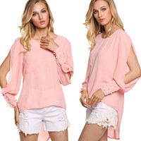 WholeSale Autumn Style Hollow Out Long Sleeve Pearl Beading Pink Blouse Women Lady Loose Chiffon Casual