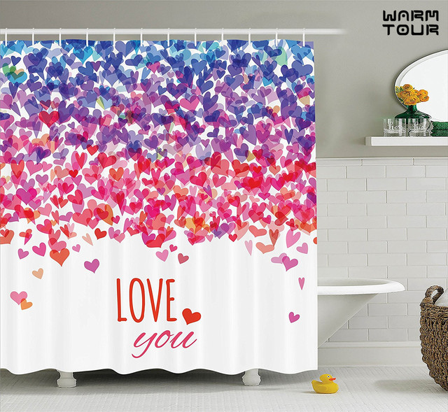 WARM TOUR Hearts Love You Message Romantic Shower Curtain Valentines Day Springtime Cheerful Art Bathroom