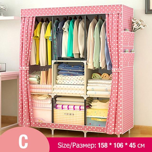 Multi-purpose Non-woven Cloth Wardrobe Fabric Closet Portable Folding Dustproof Waterproof Clothing Storage Cabinet Furniture 3
